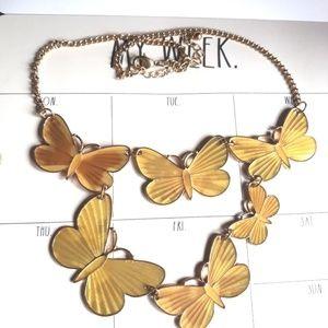 Gold Yellow Enamel Butterflies Necklace